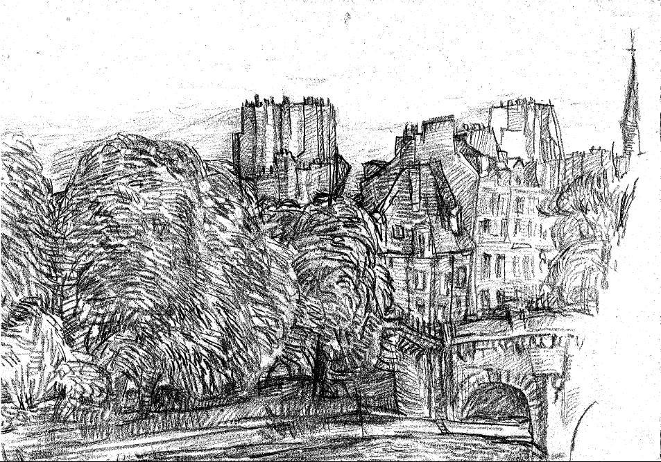 パリ・セーヌ河畔 スケッチ 1963年
